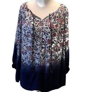 Avenue Bohemian Dip Dyed Floral Tunic Top - 14/16